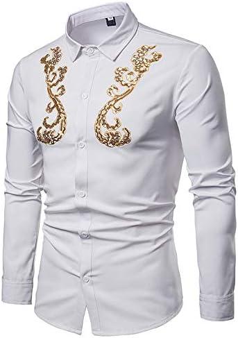 ChenBing-tow Camisa de Hombre con Botones Hombres Hipster Bordado de Oro Slim Fit Tops Cuello de Solapa Camisa de Manga Larga con Botones Camisas de Vestir Casuales (Color : Blanco, tamaño :