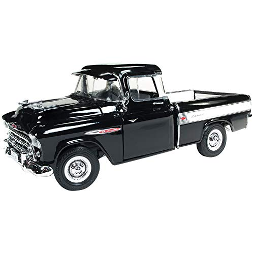 - 1957 Chevrolet Cameo 3124 Pickup Truck Onyx Black 100th Anniversary Limited Edition to 1002 Pieces Worldwide 1/18 Diecast Model Car by Autoworld AMM1145