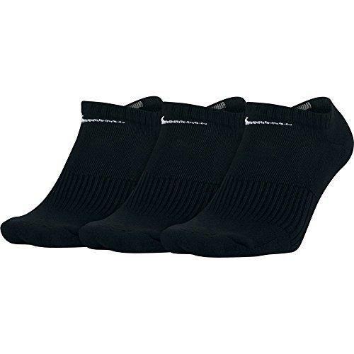 (NIKE Unisex Performance Cushion No-Show Training Socks (3 Pairs), Black/White, Large)