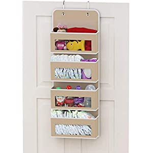 Simplehouseware Over Door/Wall Mount 4 Clear Window Pocket Organizer, Beige