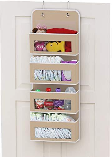 Simplehouseware Over Door/Wall Mount 4 Clear Window Pocket Organizer, Beige
