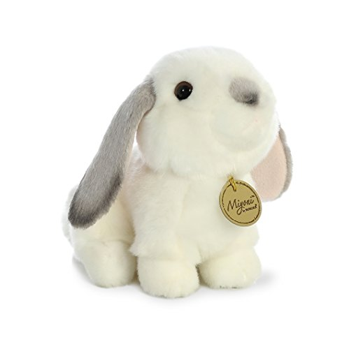 Aurora World Miyoni White Plush Lop Eared Rabbit with Gray Ears, Small