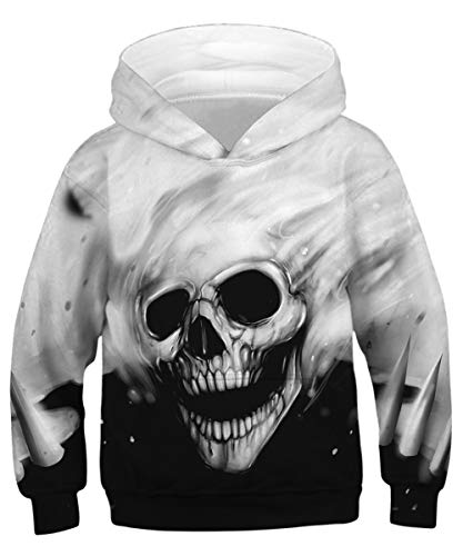 (GLUDEAR Youth Funny 3D Pattern Hoodies Soft Hooded Sweatshirts for Children (4-13 Years),Skull,8-11 Years)