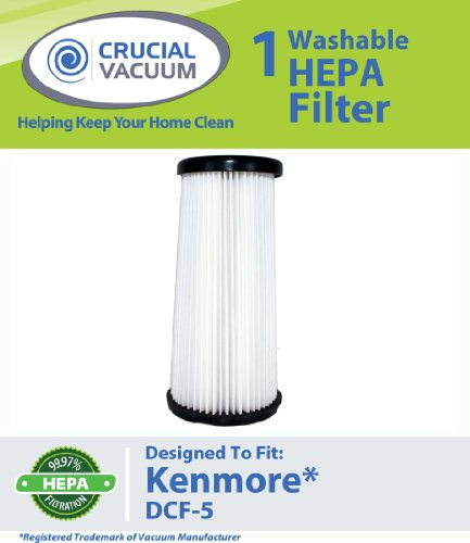 Kenmore DCF-5 Washable Allergen Filtration HEPA Filter; Fits All Kenmore Quick Clean Models including K37000, 3900; Replaces Kenmore DCF5 Part # 618683, 02080011000, 02039000000; Designed and Engineered by Crucial Vacuum, Appliances for Home