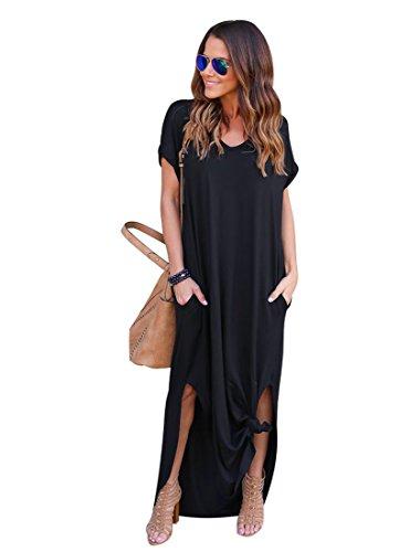 EverChic Womens Casual Pocket Beach Long Dress Short Sleeve Split Loose Maxi Dress