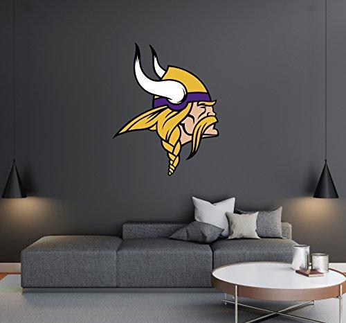Minnesota Vikings - Football Team Logo - Wall Decal Removable & Reusable For Home Bedroom (Wide 20