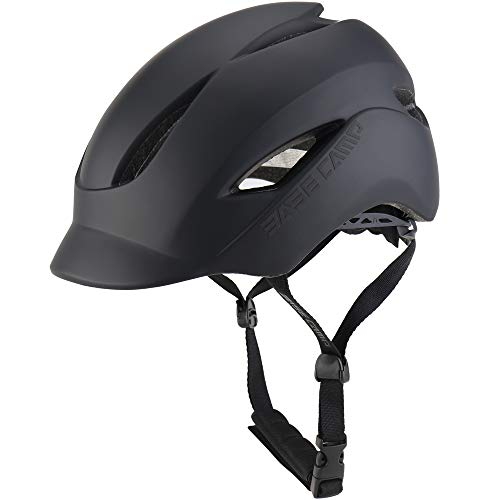 - BASE CAMP Adult Bike Helmet with Rear Light for Urban Commuter - Adjustable M L Size (21.65-24 Inches)