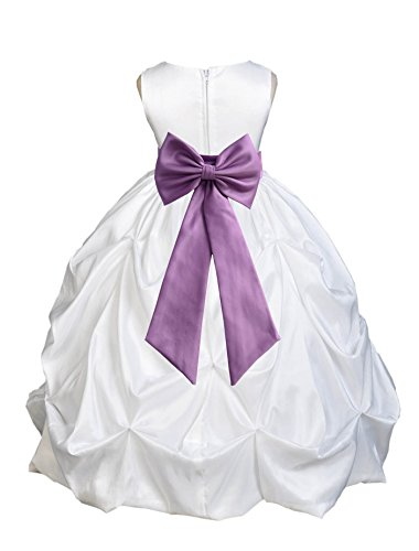 White Satin Taffeta Pick-Up Bubble Flower Girl Dress Princess Dresses 301T 10