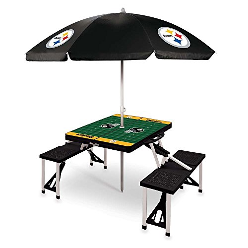 NFL Pittsburgh Steelers Picnic Table Sport with Umbrella Digital Print, One Size, Black by PICNIC TIME