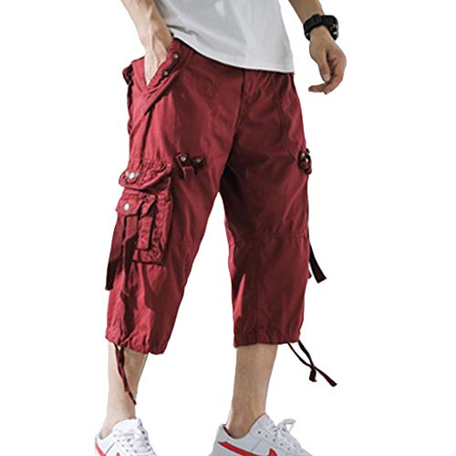 AOYOG Mens Cargo Shorts 3/4 Relaxed Fit Below Knee Capri Cargo Short Cotton Wine Red ()