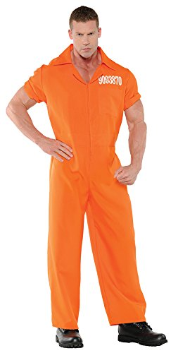 UHC Men's Prison Jumpsuit Orange Convict Boiler Suit Cops Halloween Costume, XXL (Cheap Halloween Costumes Male)