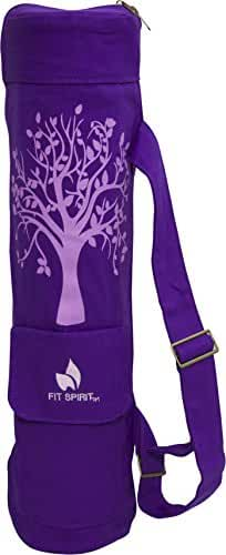 Fit Spirit Tree of Life Exercise Yoga Mat Bag w/ 2 Cargo Pockets - Choose Your Color (MAT IS NOT INCLUDED)