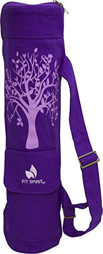 Fit Spirit Tree of Life Exercise Yoga Mat Bag w/ 2 Cargo Pockets -  Purple