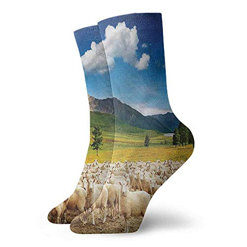 Comfortable and Breathable 1 Pair Mens Socks Mountain,Sheep and Blue Skies Farm 3.4