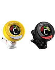Clip on guitar tuner (2 pack) with batteries included. Professional grade tuners for guitar, violin, bass, viola, ukulele and any stringed instrument. ROWIN LT-21 (Yellow and Black)