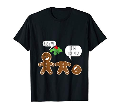 Kiss Me I'm Trying Funny Christmas Gingerbread Cookies -