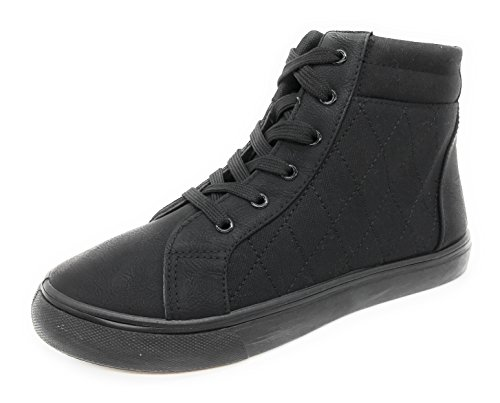 Blue Berry Easy21 Dames Hoge Top Sneaker Canvas Veter Mode Platte Schoenen Zwart / Zwart