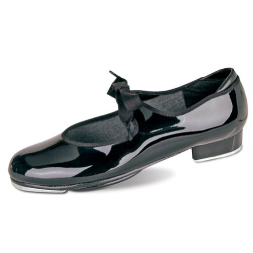 Danshuz Little Girls Black Patent Grosgrain Ribbon Tap Shoes