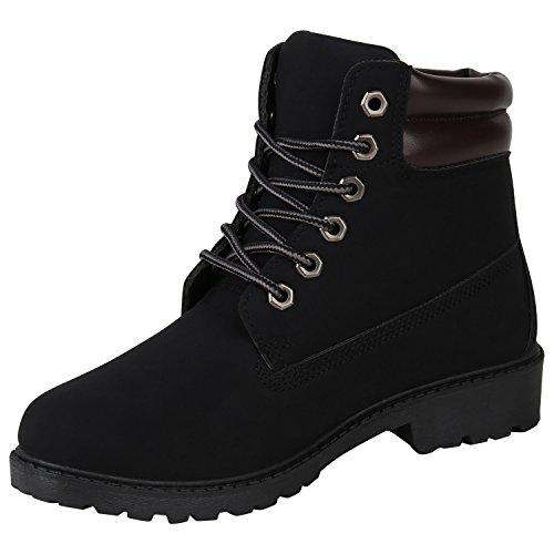 Stiefelparadies Damen Outdoor Stiefeletten Glitzer Worker Boots Profilsohle Flandell Schwarz Arriate