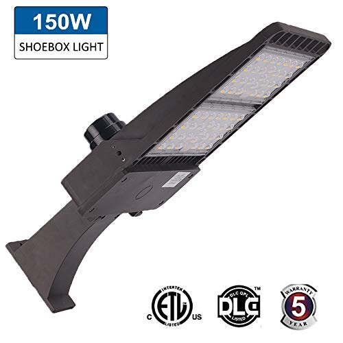 150W LED Parking Lot Shoebox Light Fixture,5000k 19500lm Outdoor Waterproof Pole Mount for Large Area Lighting (400W Equiv) Super Bright Arm Mounted ETL and DLC Listed,Waterproof IP65 ()