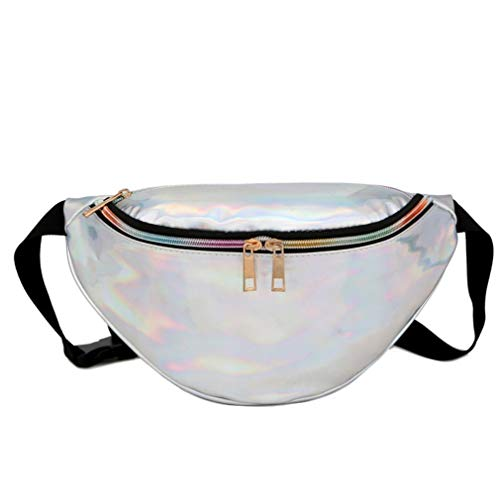 Silver Modern Qirui Bag Easy Waist Fashion to Laser Beach Pink Pocket Carry RRwTpqP