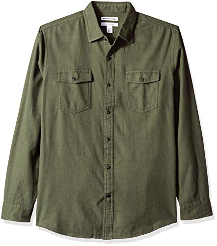 Amazon Essentials Men's Regular-Fit Long-Sleeve Solid Flannel Shirt, Olive Heather, XX-Large (The Best Of Men Trailer)