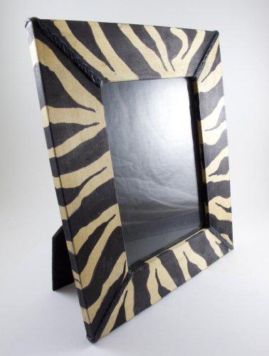 Maisha Fair Trade Hand Carved Decorative Wood Zebra Picture Frame, Black & Natural