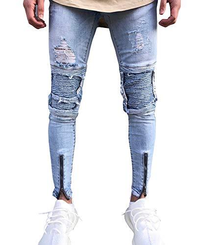 Suncaya Hombres Pantalones Ajustados Ripeado Motocicleta Denim Vintage Pantalones Hip Hop 1847