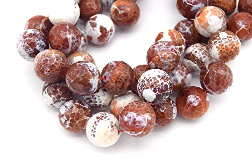 (20mm Brick Red/White Dyed Agate Faceted Sphere/Ball Shaped Beads - (Approx. 15.5