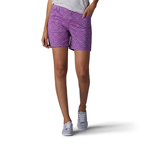 LEE Women's Straight Fit Tailored Chino Short, Berry Textured Tile, 18 ()