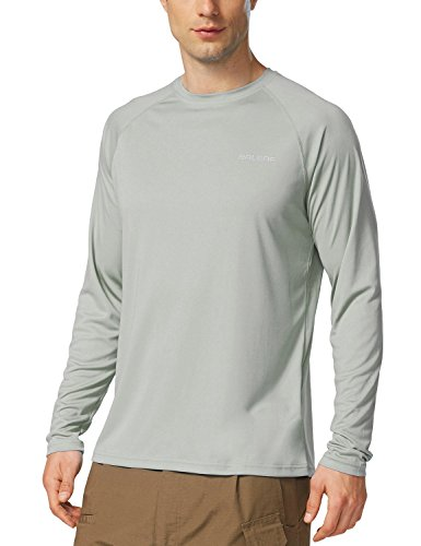 Simply Swim Mens Clothing - Baleaf Men's UPF 50+ Outdoor Running Long Sleeve T-Shirt Gray Size L