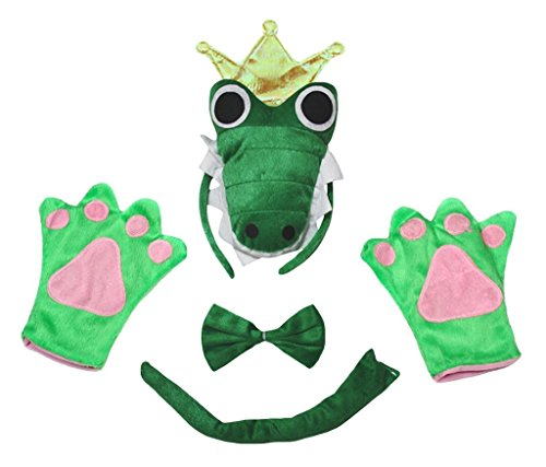 Petitebella Crocodile King Headband Bowtie Tail Gloves Adult 4pc Costume (One Size)
