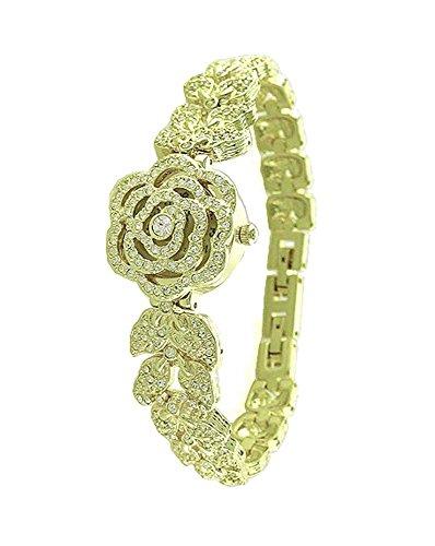 Ladies 18K Plated BLING Rose Bracelet Crystal Watch Made with SWAROVSKI Elements