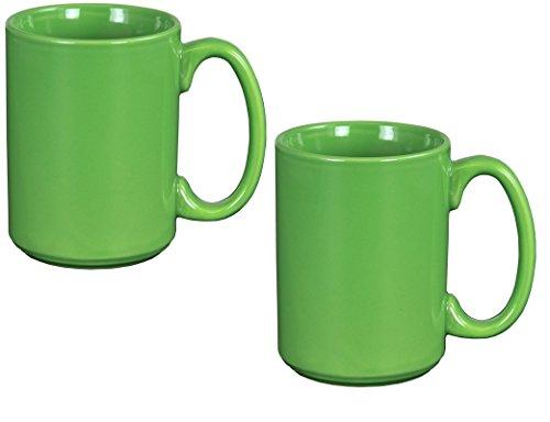 El Grande Style Large Ceramic Coffee Mug With Big Handle, Green 15 oz. (Pack of (Green Stoneware Mug)
