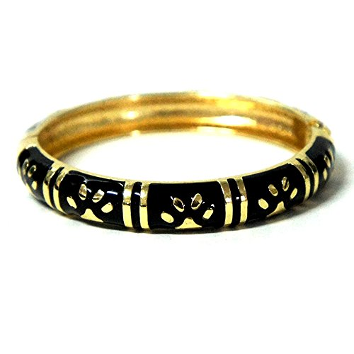 Vintage Bangles Diamond Black (UJOY Women Cloisonne Bangle Charming Little Feet Hinged Bracelet Alloy Jewelry Gift with Box 55A98 black)