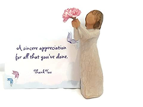 Willow Tree Thank You Angel Figurine Bundle with Thank you Note Card, Best Thank You Appreciation Thanksgiving Gifts for Teacher End of Year, for Women, for (Her Healing Co)
