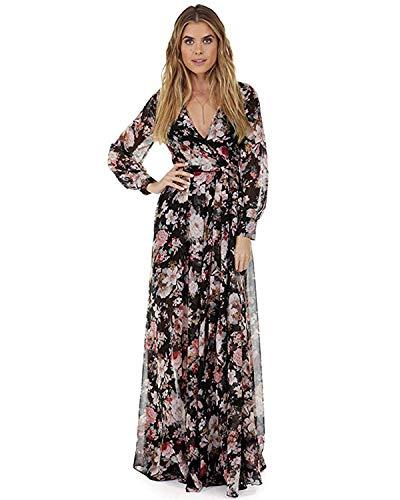 Women Vintage Floral Long Sleeve Dress Bohemian Chiffon Wrap Boho Maxi Dresses (Black, L)]()