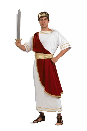 Forum Caesar Emperor Of Rome Costume, Red/White, Standard
