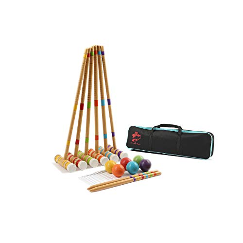 (MR CHIPS Croquet Set Playing Game - Wooden Mallet - Adults & Kids - 6 Players - 6 Colors - Free Can Coolers)