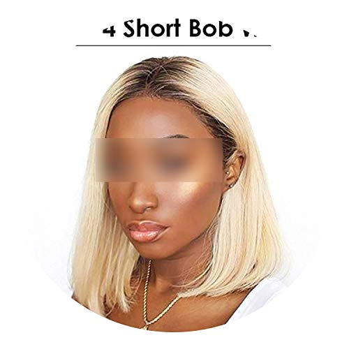 (Blonde Lace Front Wig Brazilian 613 Short Bob 13X6 Lace Front Human Hair Wigs For Black Women 1B 613 Lace Front Wig,1B 613,12Inches,150 )