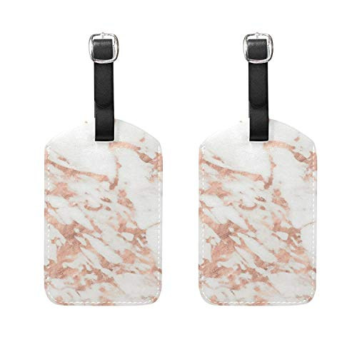 Set of 2 Luggage Tags Marble Pattern Texture Suitcase Labels