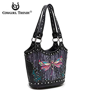 Western Style Spring Colorful Butterfly Studded Concealed Carry Purse Women Country Handbag Shoulder Bag