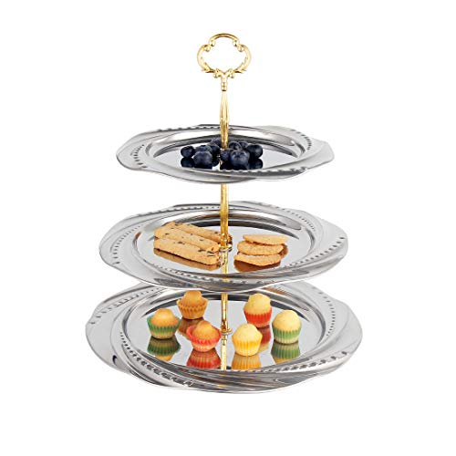 (Cake Stand Fruit Tray Stainless Steel Fruits Desserts Candy Buffet Plates Serving Tray Cupcake Stand for Wedding House Birthday Party Family Dinner(3-Tier,)