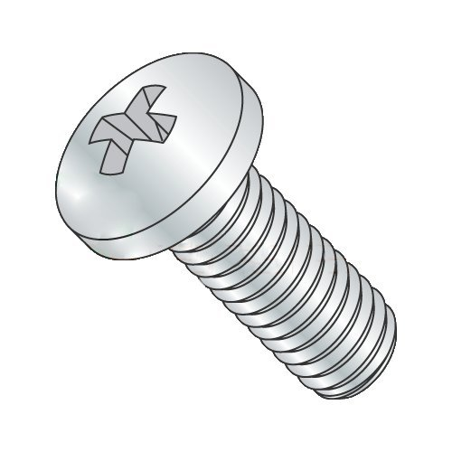 #8-32 x 2'' Machine Screws, Steel, Pan Head, Phillips Drive, Full Thread, Zinc Plating (Quantity: 2000 pcs)
