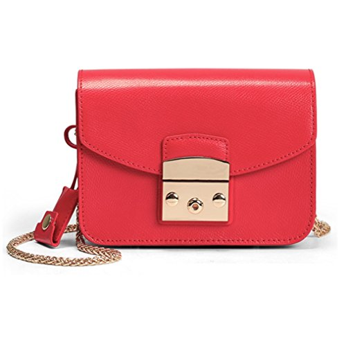 JeHouze Fashion Women Genuine Leather Crossbody Mini Handbag Metal Strap Small Purse (Red)