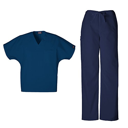 Cherokee Uniforms Authentic Workwear Unisex Scrub Set (Navy - Medium) (Set Cherokee)