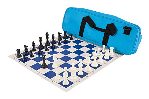 The House of Staunton Deluxe Chess Set Combination - Triple Weighted - by US Chess Federation (Neon Blue)