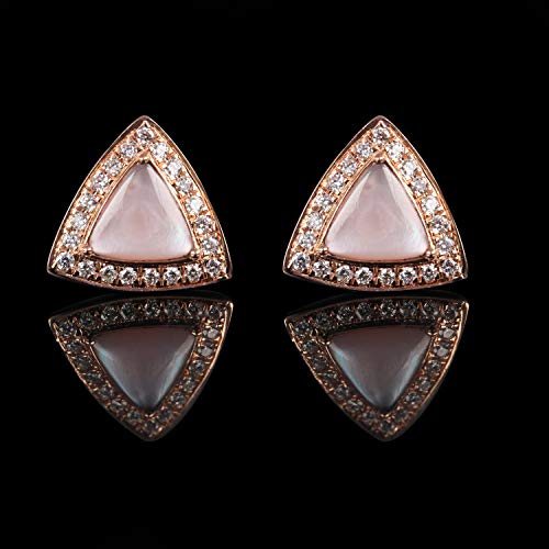 (Valentine Day Gift Solid 14k Rose Gold Mother Of Pearl Trillion Shape Stud Earrings Natural 0.21 Ct Pave Diamond Ear Studs Handmade Fine Jewelry)