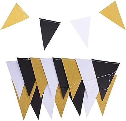 5M 30pcs Banderas Guirnaldas Papel Triángulo Negro Blanco Dorado Multicolor para Decoración Colgante de Fiesta Boda Cumpleaños Hogar Arbol (2 cadena * ...