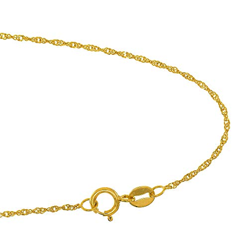 JewelStop 10k Solid Yellow Gold 1.5mm Singapore Extendable & Adjustable Anklet, Spring Ring Clasp- 9